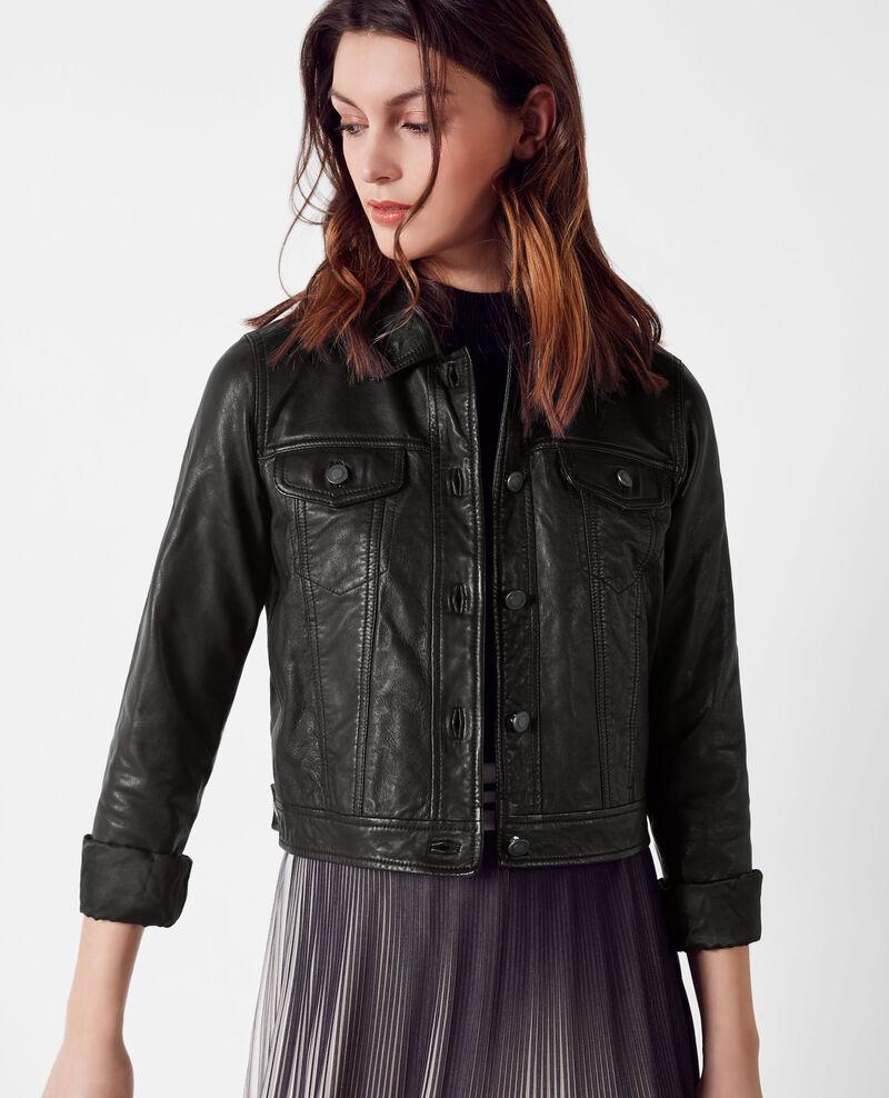 Veste courte en cuir fa on veste en jeans noir cablo - Veste en cuir comptoir des cotonniers ...