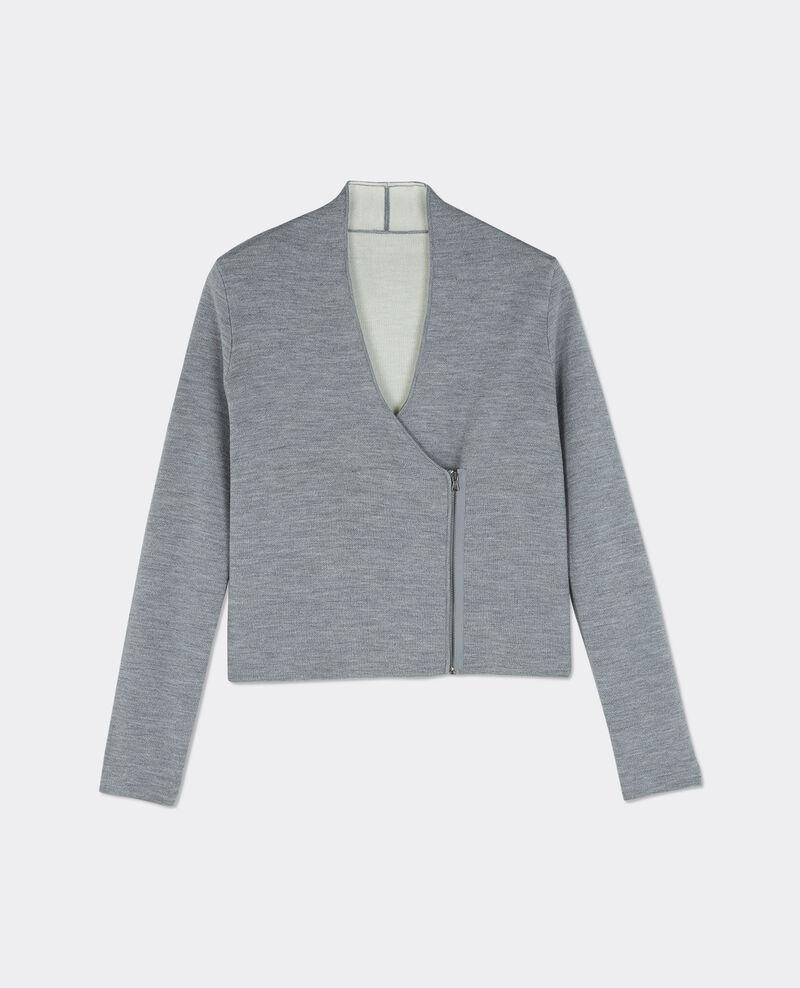 Chaqueta cárdigan de lana con cremallera Gris fonce/gris chine Buggy