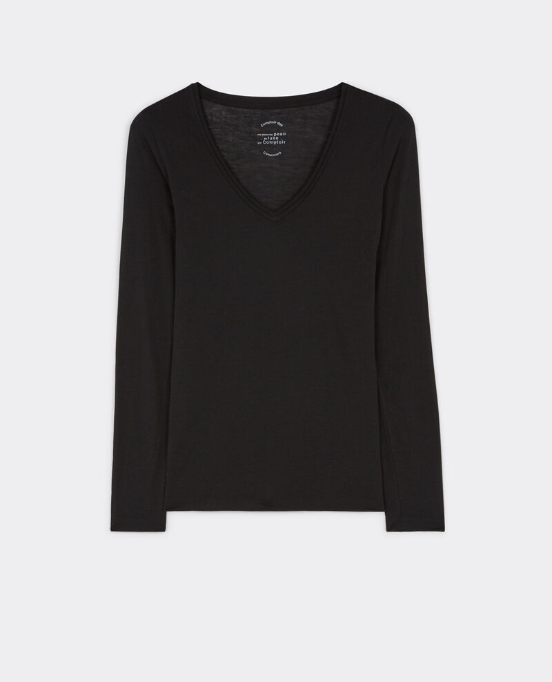 "Long sleeve ""my second skin by Comptoir"" t-shirt Noir Bastien"