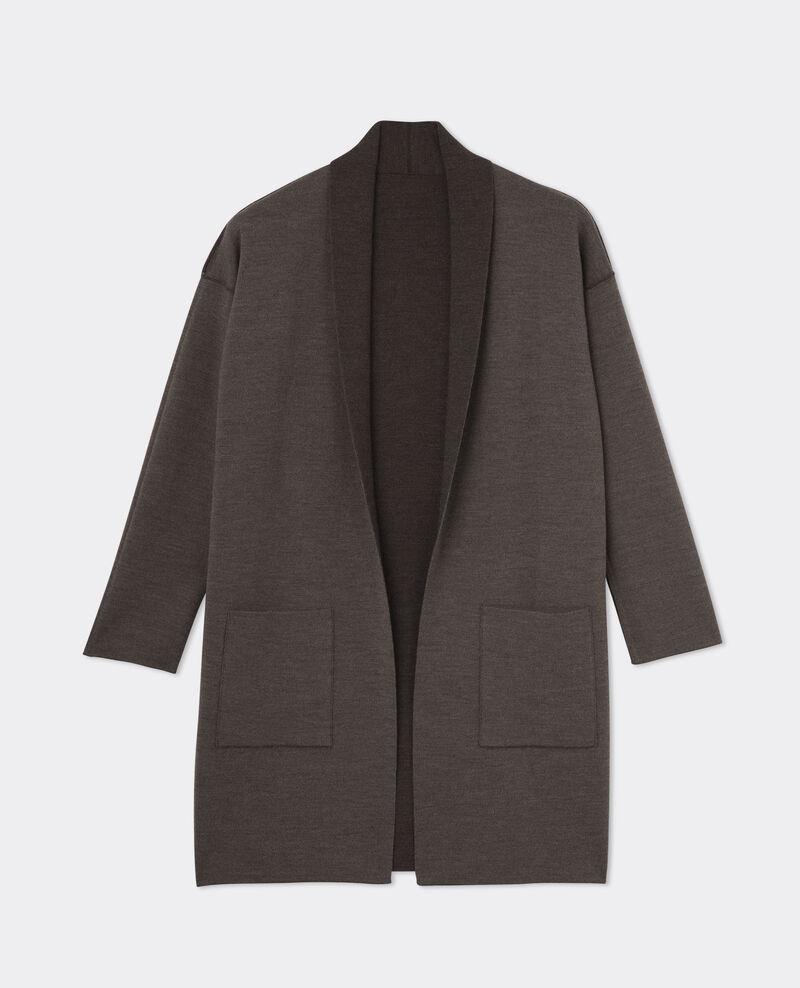 Cardigan mi-long en laine Marengo chine/chestnut chine Bosko