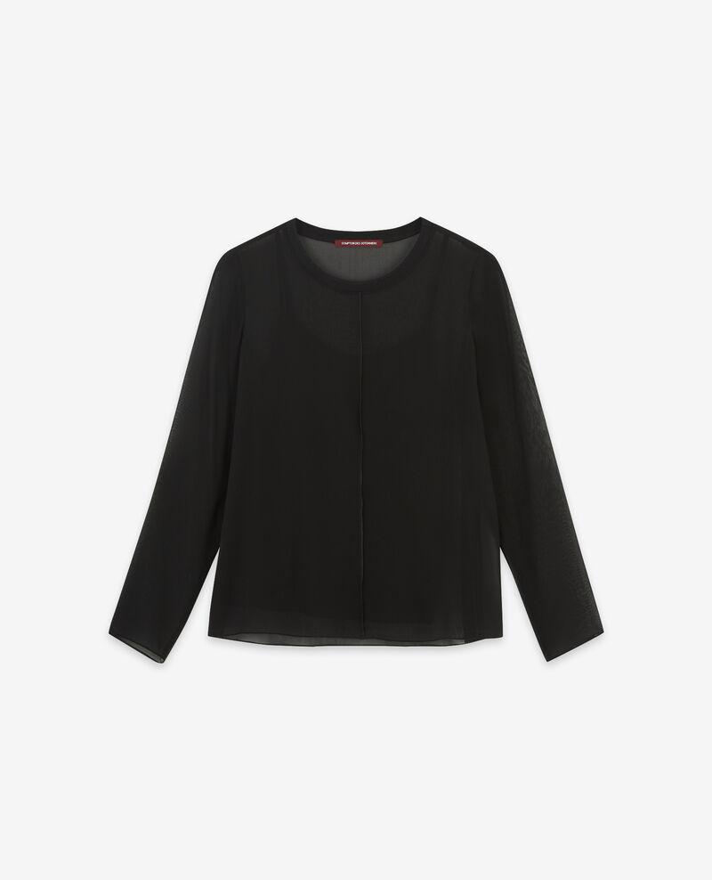 Long-sleeved silk t-shirt Noir Dalpestre