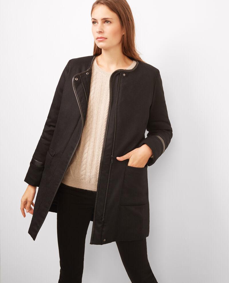 Parka de franela de lana con capucha Noir Bijeanne