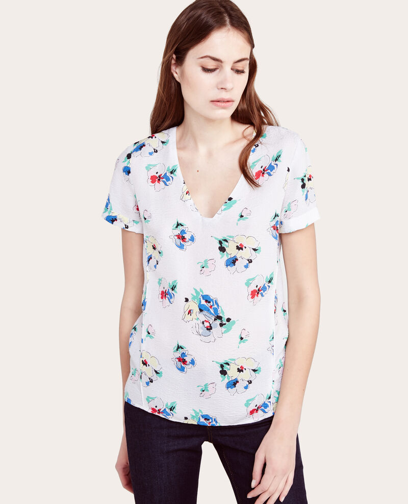Top estampado con seda Spring bouquet off white Aredite