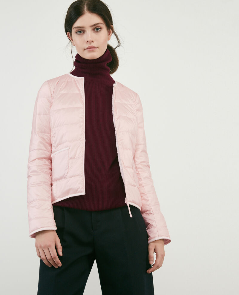 Pocketable reversible puffer jacket Misty rose/off white Calao