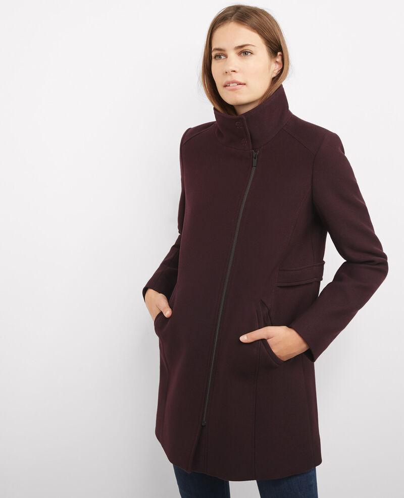 Manteau zippé en laine et coton Maroon Ballover