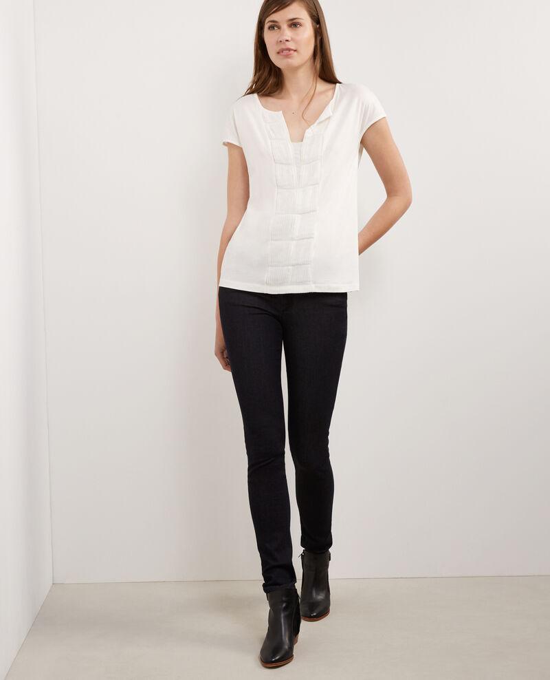 Blusa de dos tejidos con seda Off white Borneo