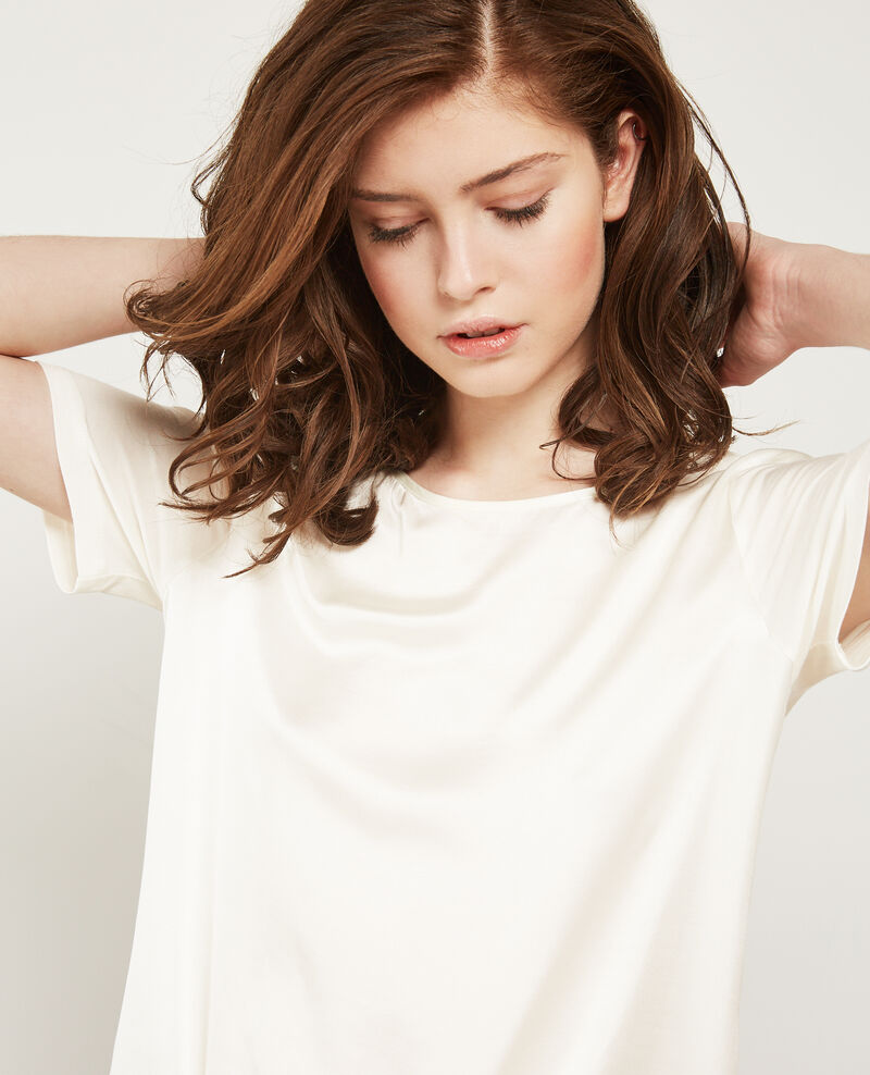 Silk panelled t-shirt Off white Dupalais
