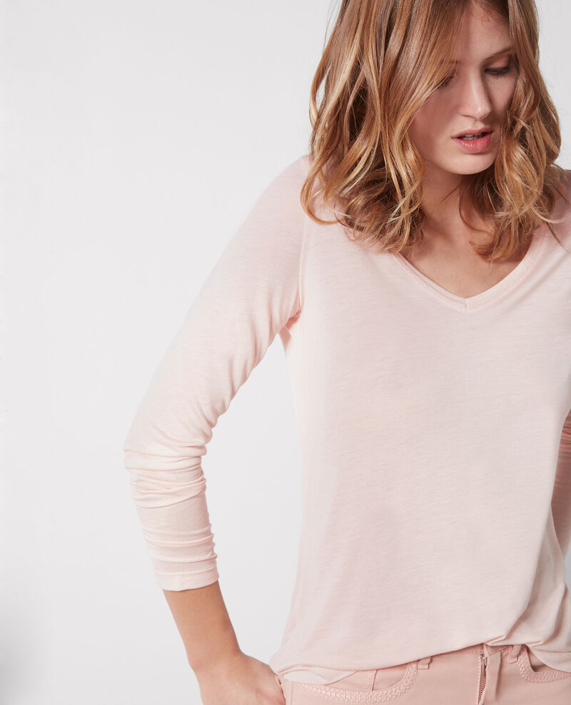 """Luxurious second skin"" long-sleeved shirt in cashmere and modal Misty rose Castien"
