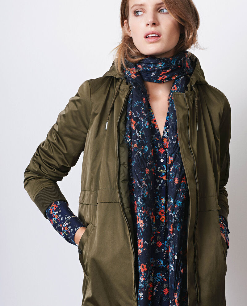 Long, light bomber jacket-style parka with detachable hood Black olive Chapeau