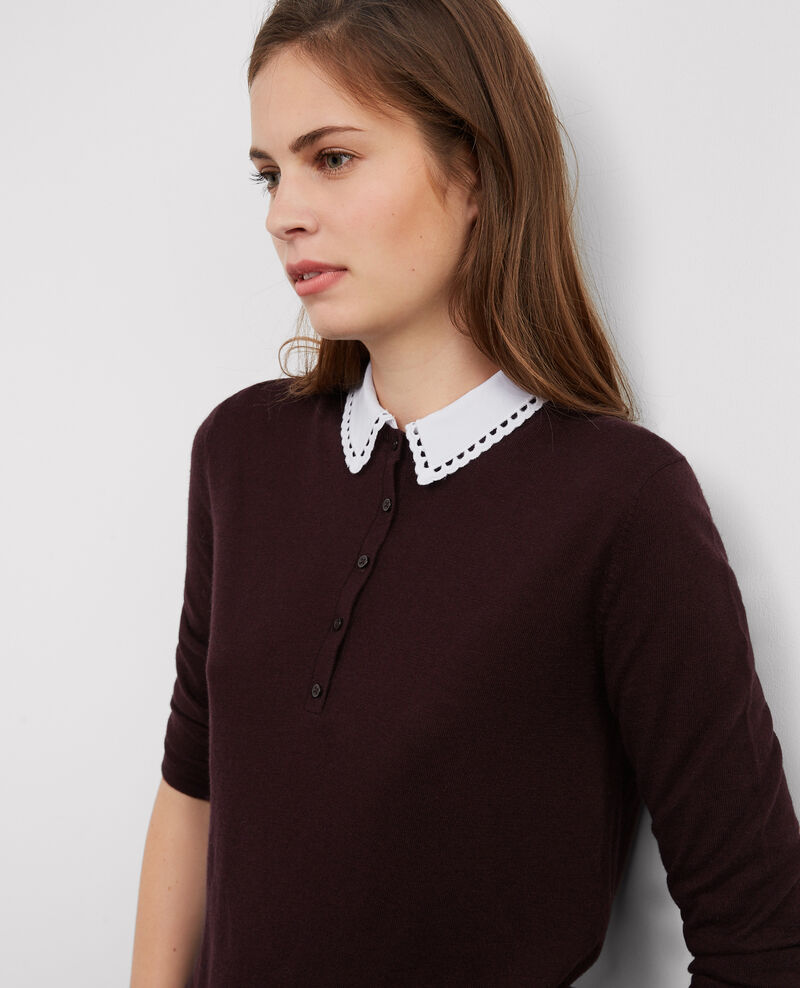Pull avec laine et col chemise amovible Maroon Britany