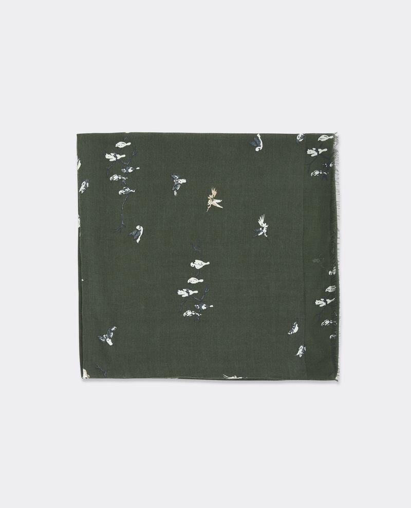 Fular estampado con mezcla de lana, seda y modal Birdy hunter green Biennale