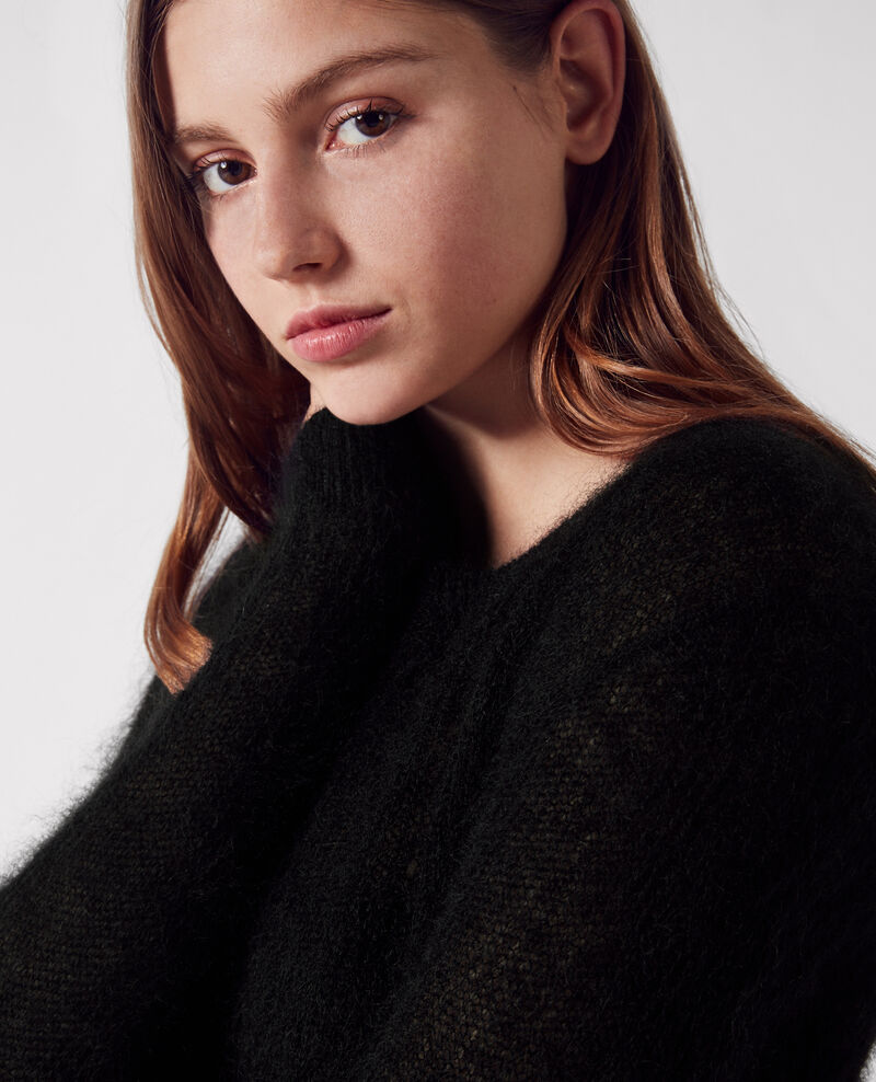 Cropped jumper with mohair and wool Noir Chewbaka