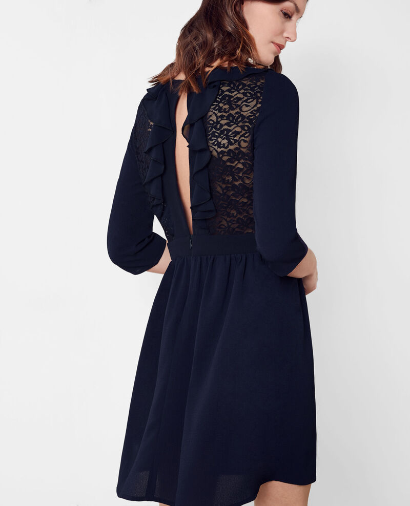 Dress with frill details and lace back Dark ocean Bazalee
