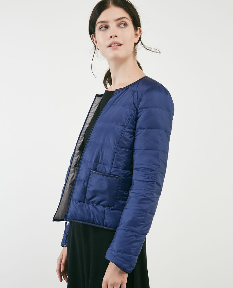 Pocketable reversible puffer jacket Indigo/light grey Calao