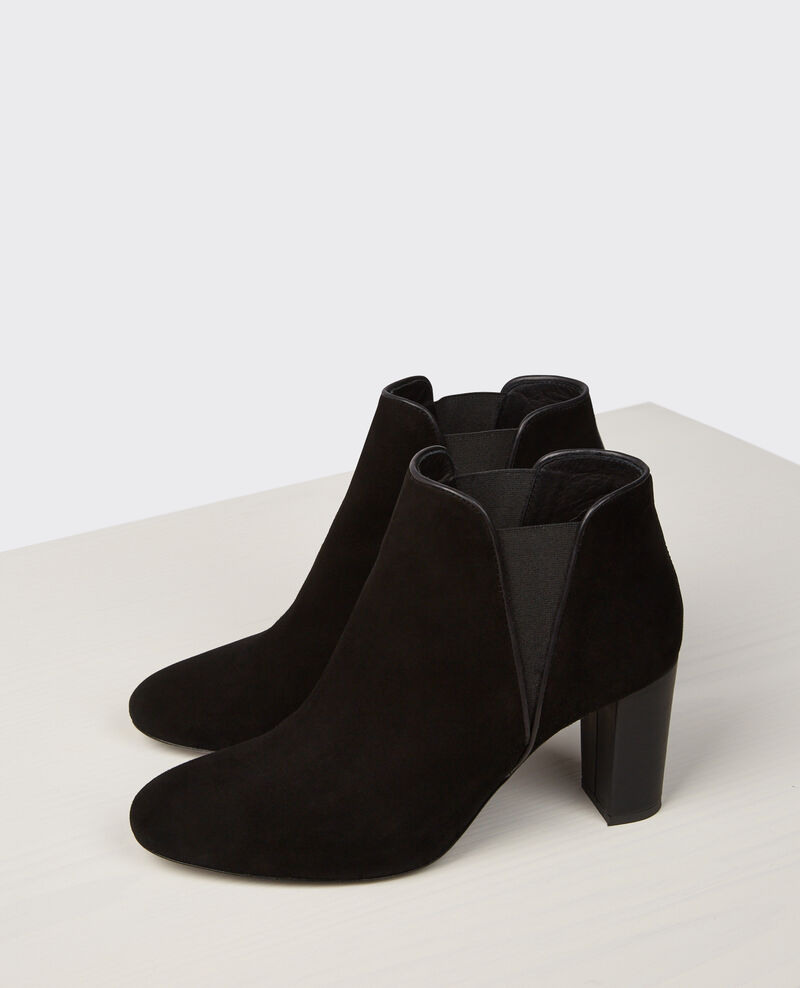 High Boots aus Veloursleder Noir Cellule