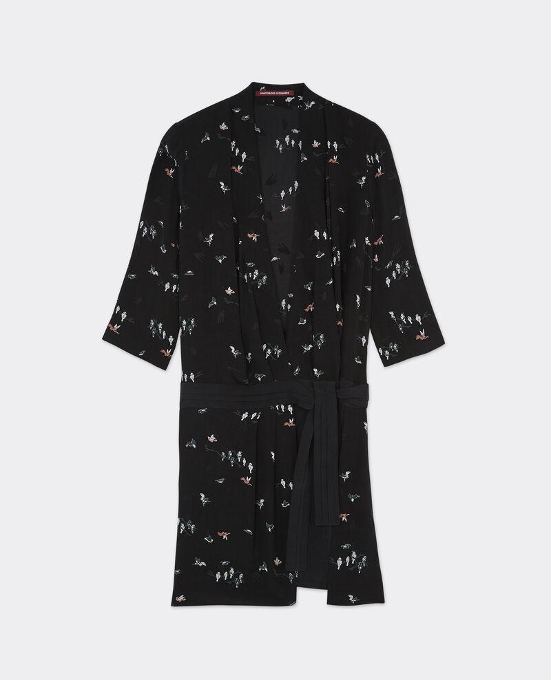 Robe cache-coeur imprimée Birdy noir Bigup