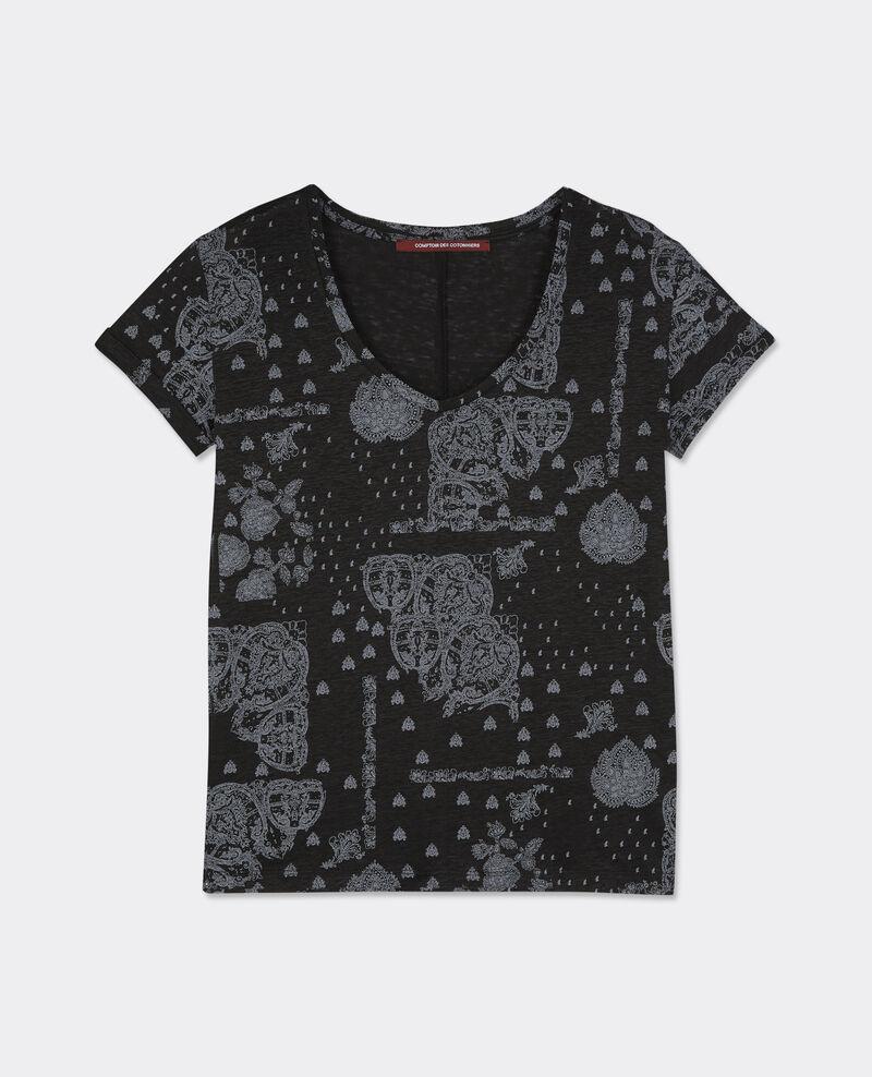 T-shirt imprimé en lin Bandana noir Baklawa