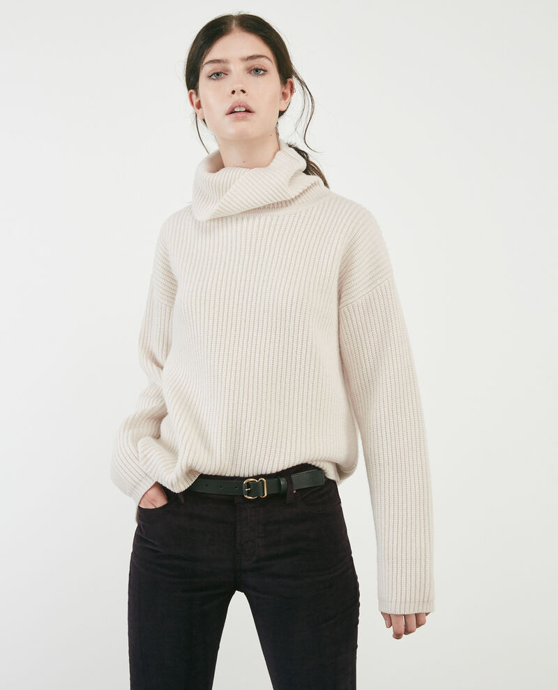 Pull avec col roulé en 100% laine Off white Dacheville