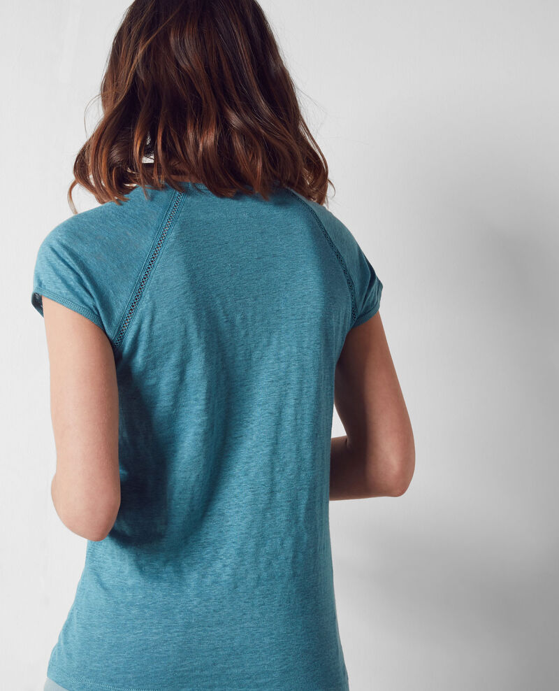 Linen t-shirt Bondi blue Caramel