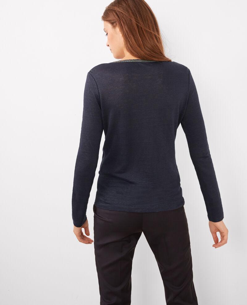 T-shirt en lin à manches longues avec détail à l'encolure Twilight Bashi