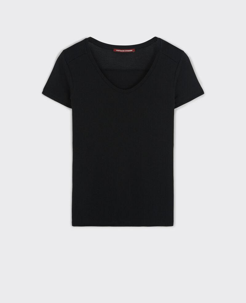 T-Shirt avec détails ajourés Noir Colombia
