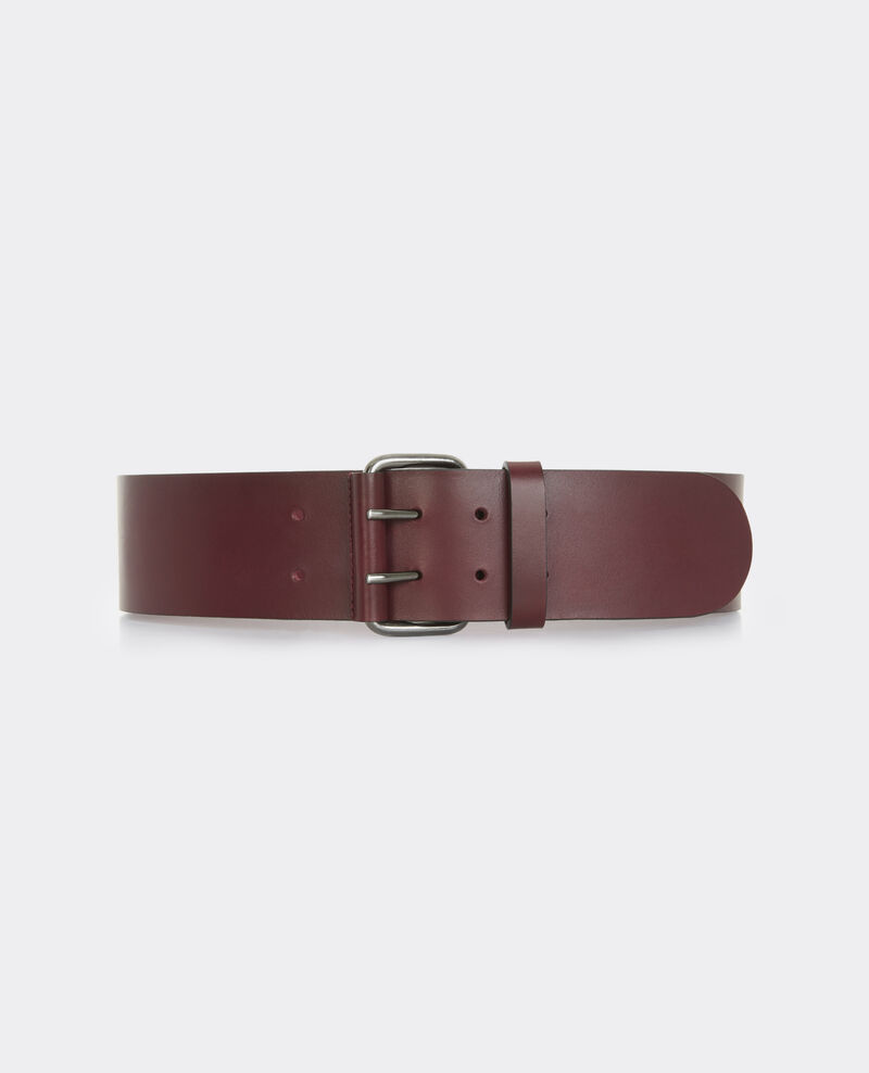 Wide leather belt Maroon Bambin