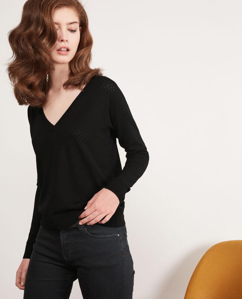 Detail knitted merino wool jumper Noir Darago