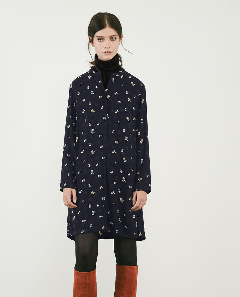 Printed shirt dress Pinecones dark navy Delgaudio