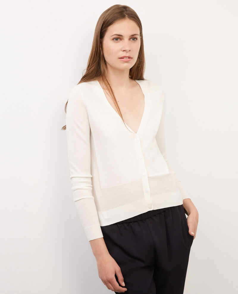 Cardigan court avec laine Off white Binx
