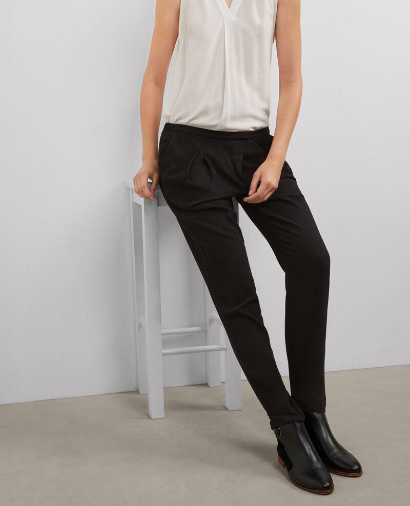Pantalón fluido con cierre asimétrico Noir Baguette