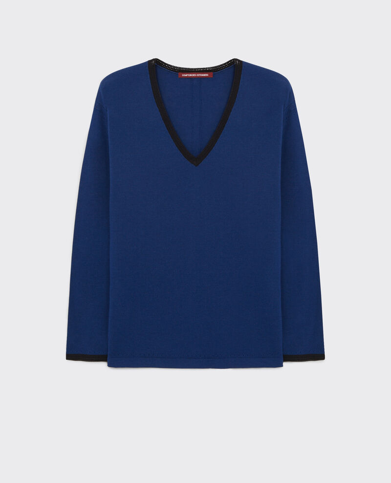 Fine-knit wool jumper Indigo/black Cacatoes