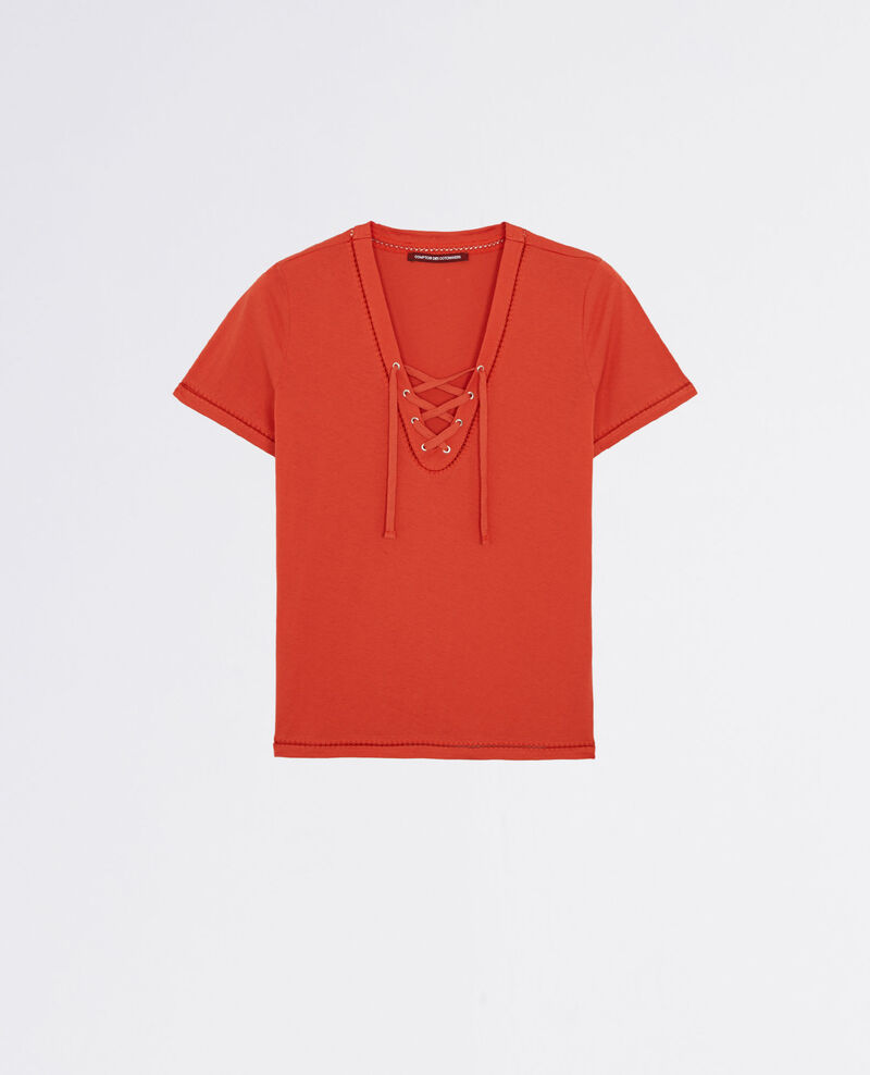 T-Shirt with lacing Tomette Caravane