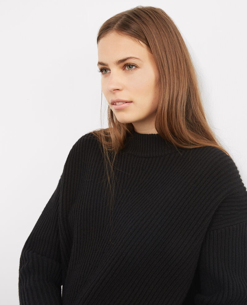 Jersey estructurado de lana con cordoncillo Noir Bibi