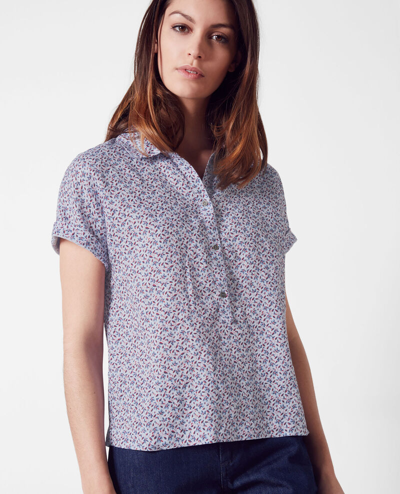 Linen print blouse Linen meadow crimson Ciflower
