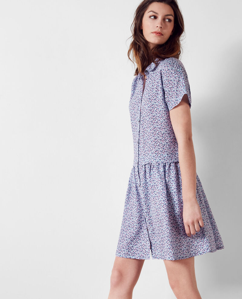Gemustertes Leinen-Kleid Linen meadow crimson Cutiepie