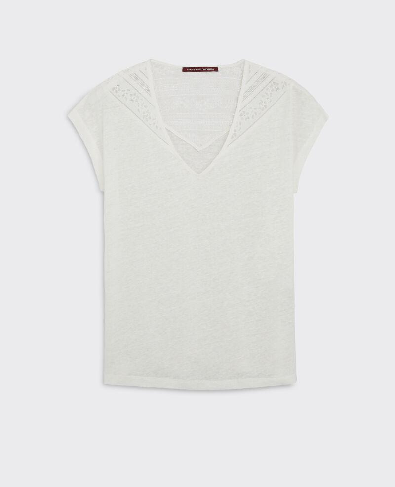 t shirt en lin avec empi cement de dentelle off white choubidou comptoir des cotonniers. Black Bedroom Furniture Sets. Home Design Ideas