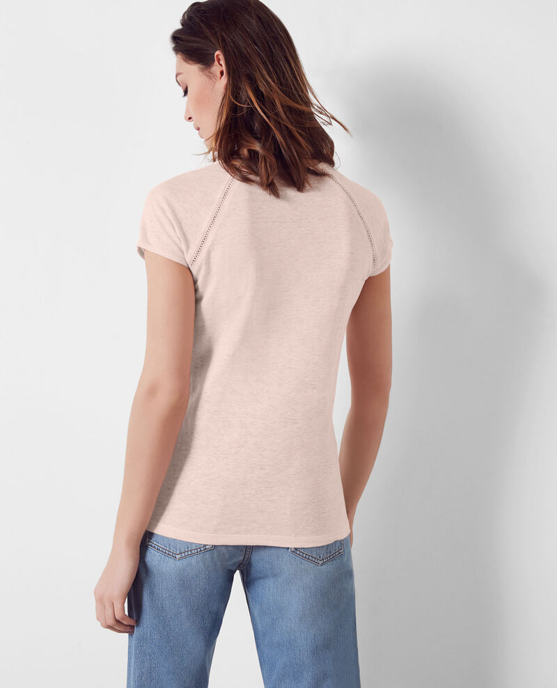 Leinen-T-Shirt Misty rose Caramel
