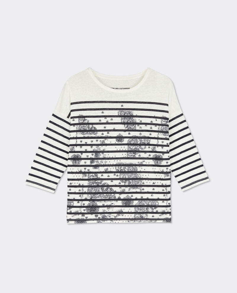 T-shirt marinière imprimé Off white/twilight Bevissage
