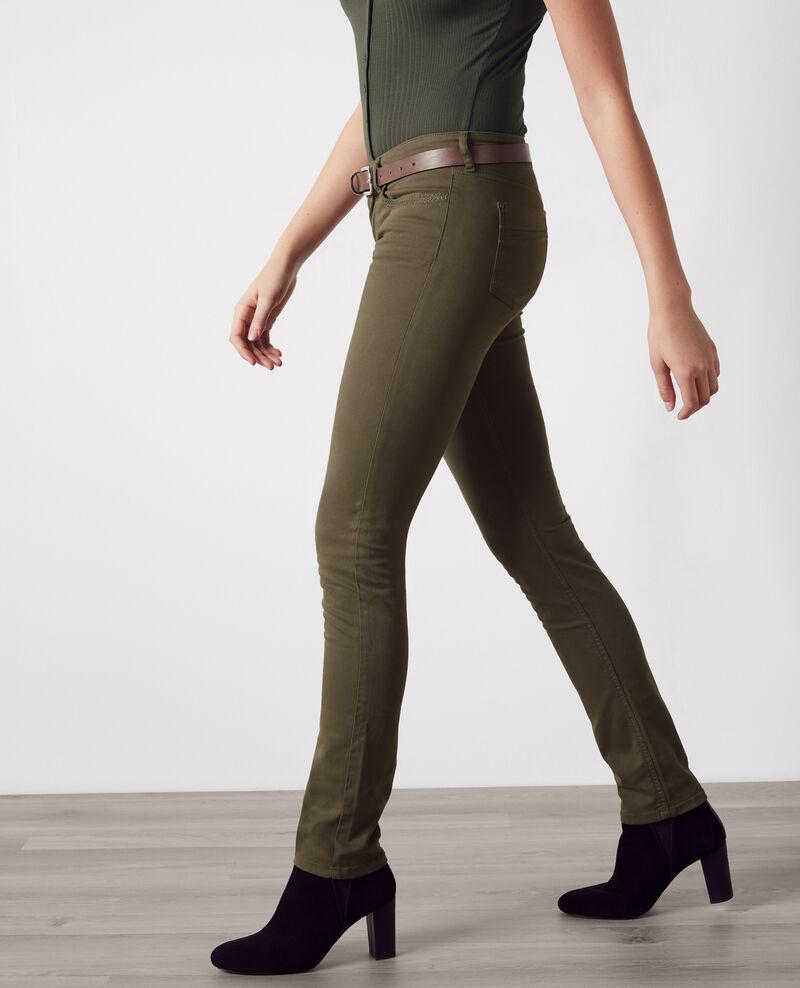 """Jeans droit effet peau de pèche """"Fille dans le vent"""" Army Cigogne"""