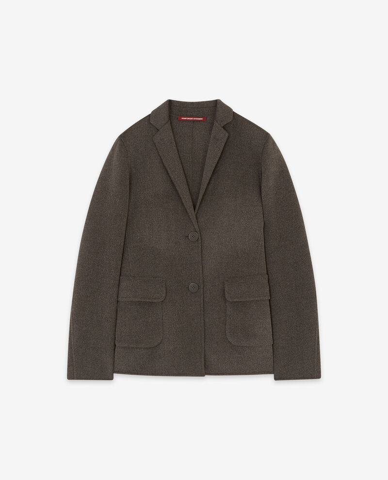 Double-faced wool jacket Dark heather grey Dalibaba