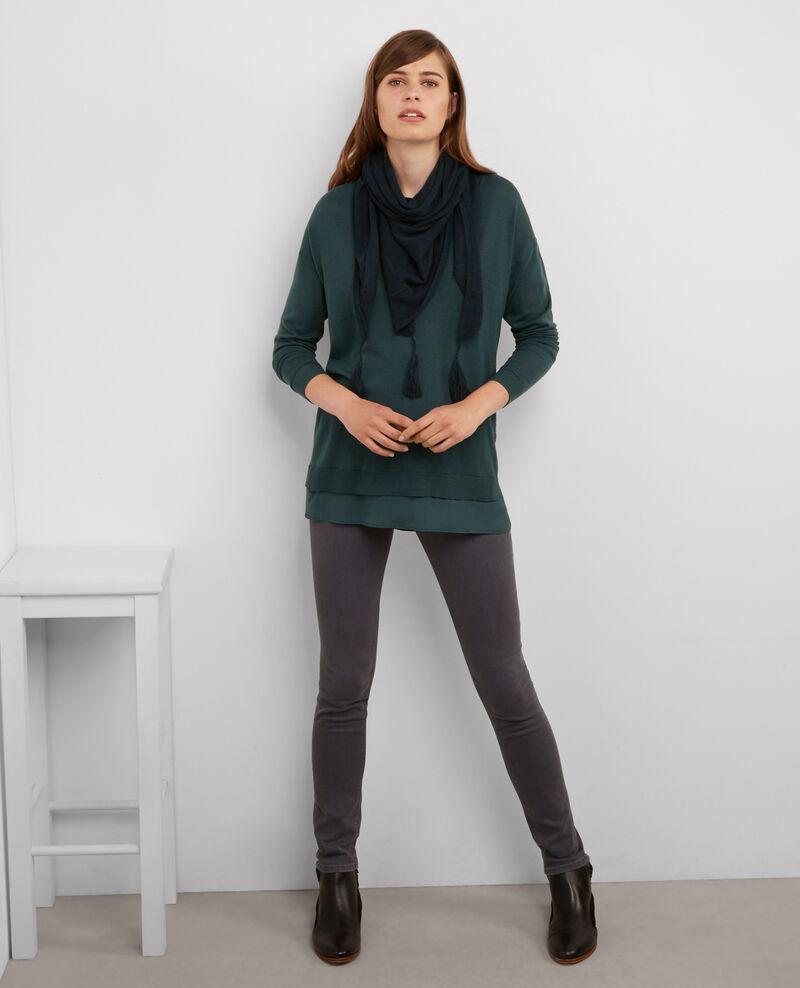 Jersey amplio de dos tejidos: lana y seda Bleu du soir Belette