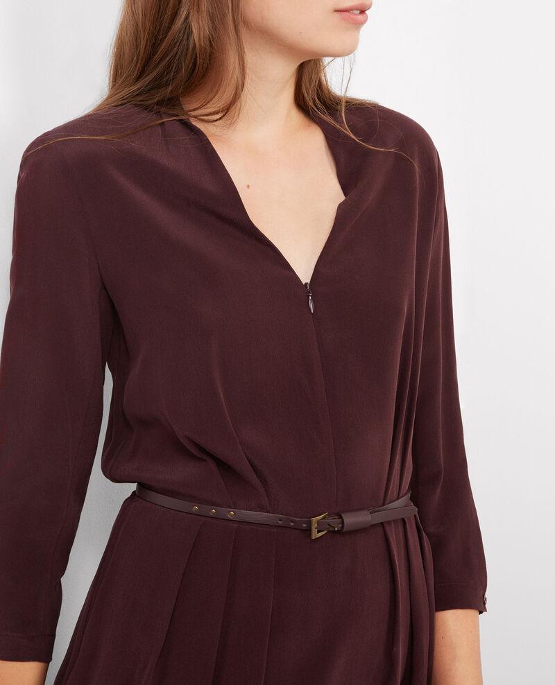 Robe cache-cœur en soie Maroon Begood