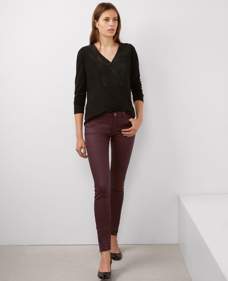 "Jeans skinny résiné ""Jolie-chérie"" Maroon Brindille"