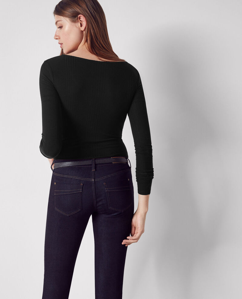 Ribbed buttoned shirt Noir Cosy