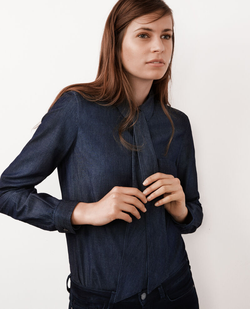 Camisa en denim con cuello de lazo lavallière Dark denim Babiole