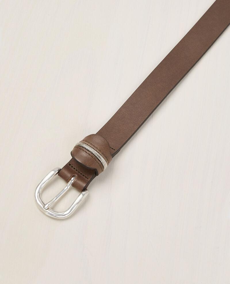 Cinturón de cuero Kaki Bambou
