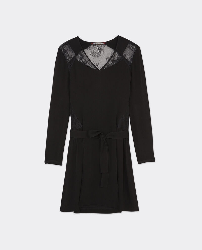 Robe avec empiècements en dentelle Noir Belegance