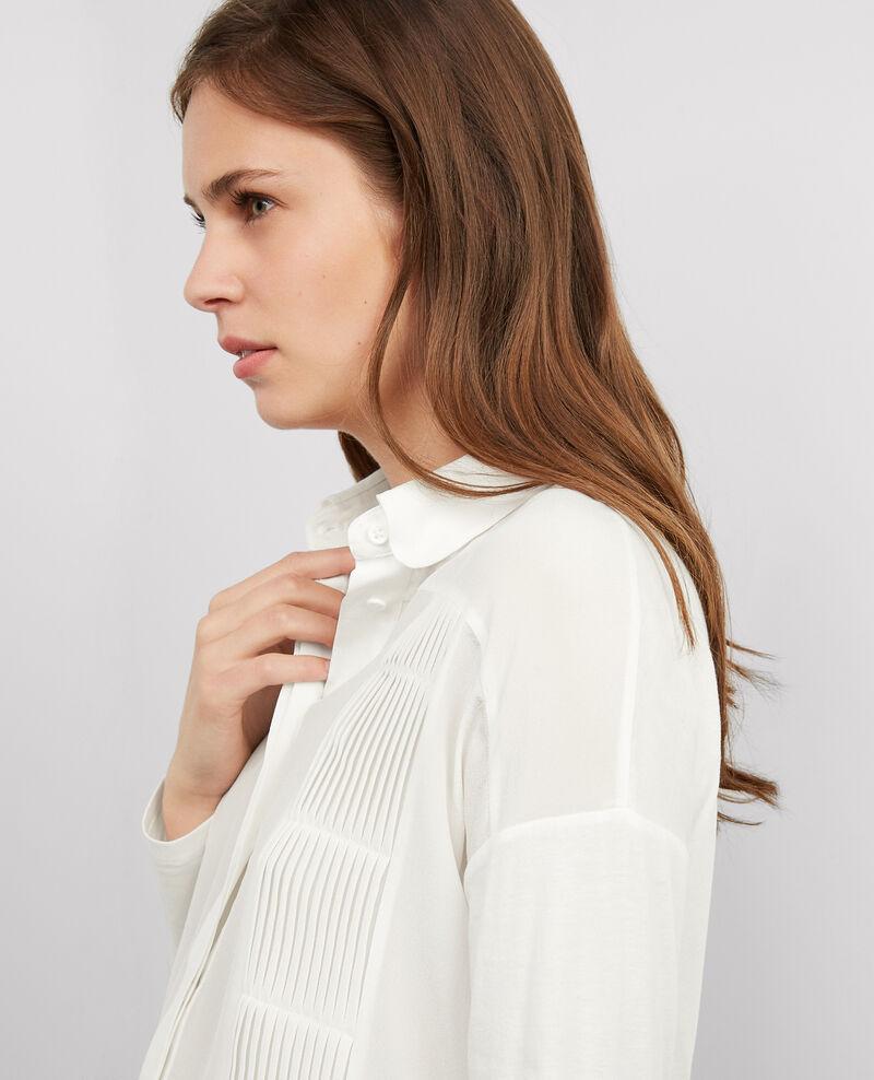 Camisa de dos tejidos con seda Off white Barneo
