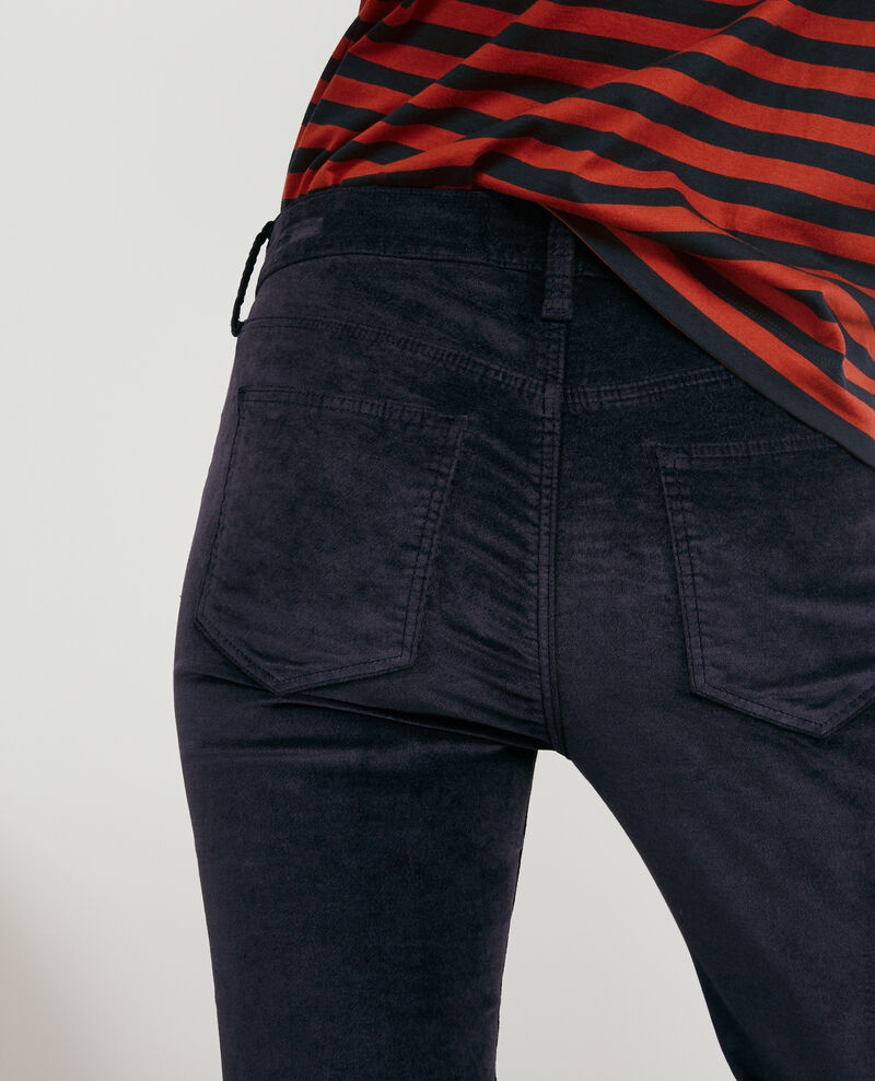 Stretch velvet cigarette pants Navy Decharpe