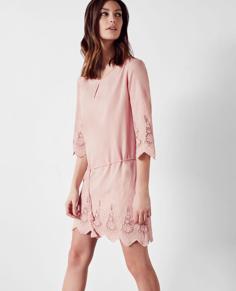 Embroidered dress Peach Cimone